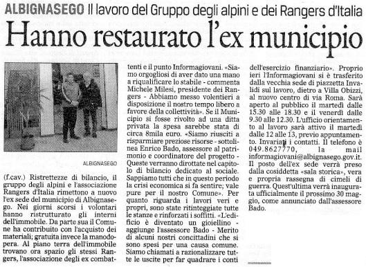 Alpini e Rangers - restauro dell'ex Municipio